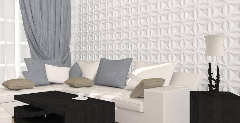 """3D панель из гипса """"Краз""""для интерьерного оформления стен."""
