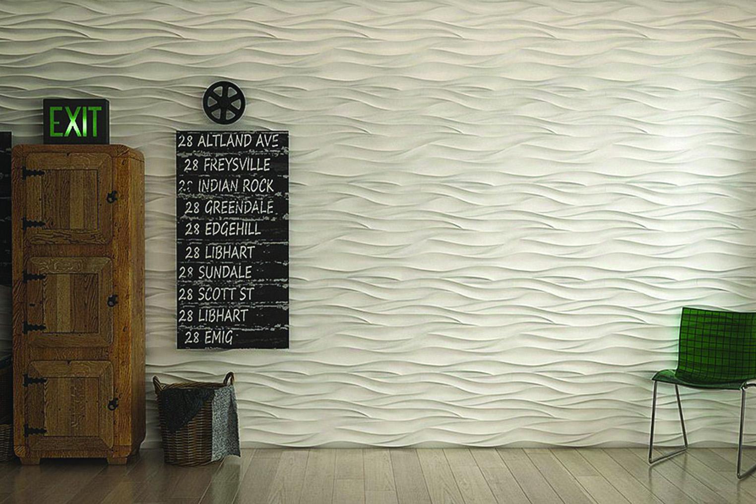 Рельеф декоративных 3D панелей TRIMIC серии «Волна», составленный из мягких трехмерных волн, напоминает песчаные барханы пустыни или неспешную гладь океана. Этот эффект можно усилить, окрасив отделочный материал в градиент – голубой, переходящий в глубокий синий, или светло-бежевый, переливающийся в темно-золотой. Гипсовые 3D панели TRIMIC — это одна из последних разработок в декоре интерьера. С помощью их вы можете легко и быстро изменить внешний вид помещения. Ненавязчивые рисунки на поверхности панели позволят создать в интерьере вашего дома ощущение гармонии и упорядоченности.