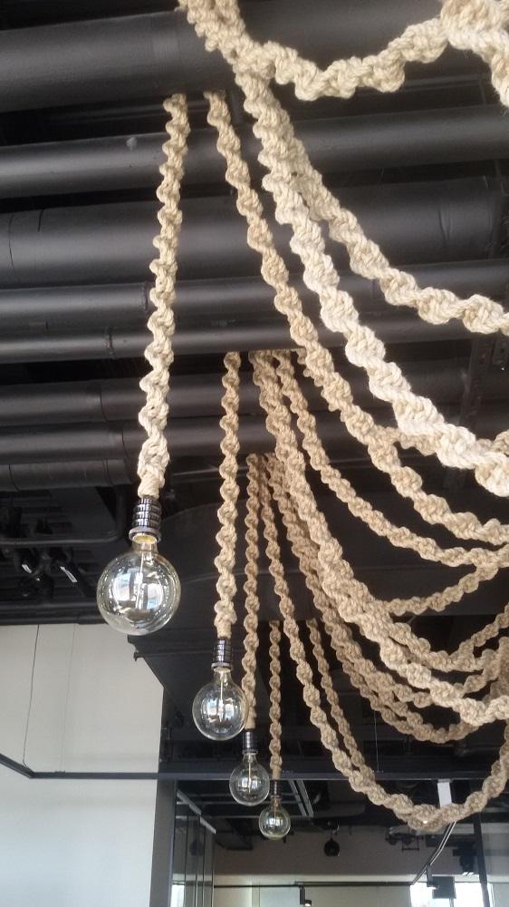 Подвесной светильник, светильник в виде канатов, веревка-светильник, светильник из каната, светильник из веревки, винтажный светильник, оригинальный светильник