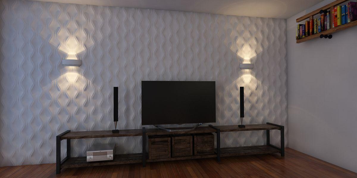 Настенный светильник из гипса для придания Вашему интерьеру ярких акцентов и спокойствия. Под ленту светодиодную. Может использоваться как самостоятельное изделие, так и в комплексе с 3D панелями.