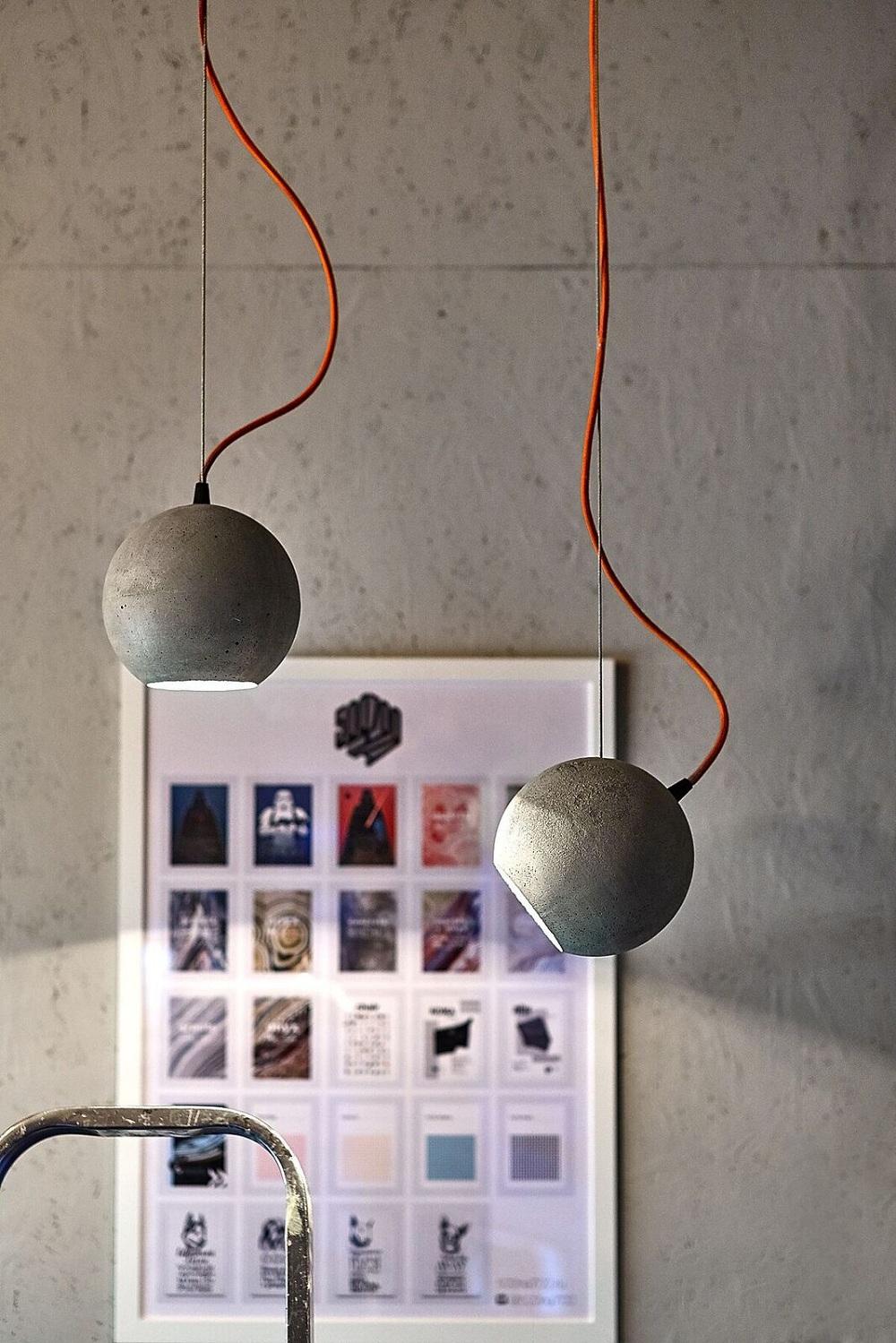 """Светильник из бетона """"ЛУНА""""-Светильник-шар из бетона."""