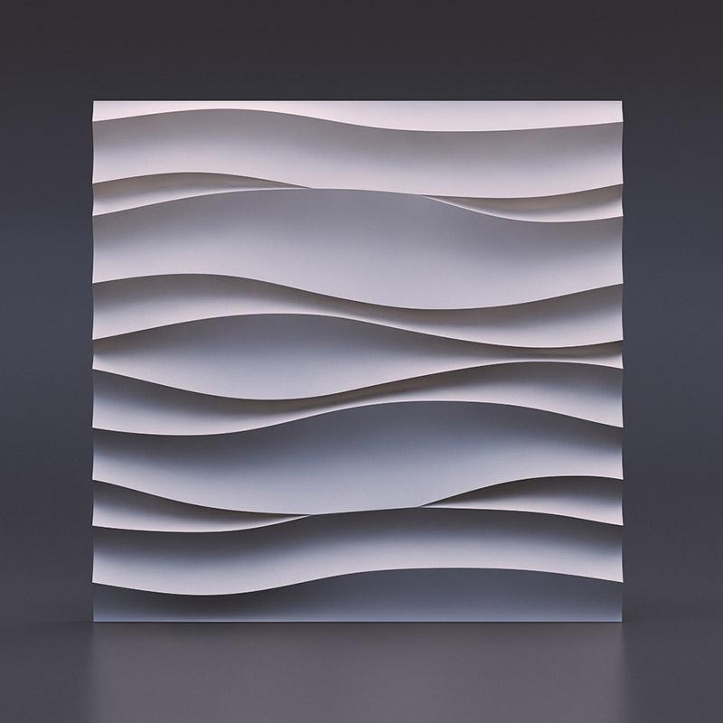 """3D панель из гипса""""Волна Атлантика""""представляет из себя сочетание множественных волнообразных линий"""