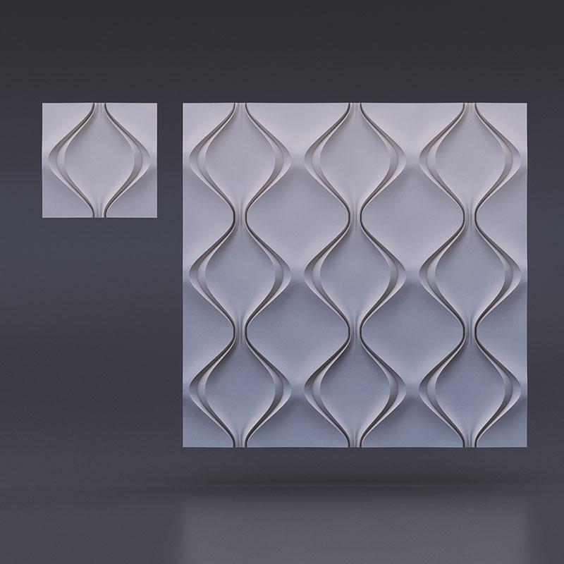 Гипсовые 3D панелидля стен модели Мягкий ромб