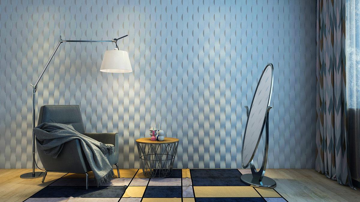 """3D панель из гипса """"Ламелия"""" для интерьерного оформления стен."""