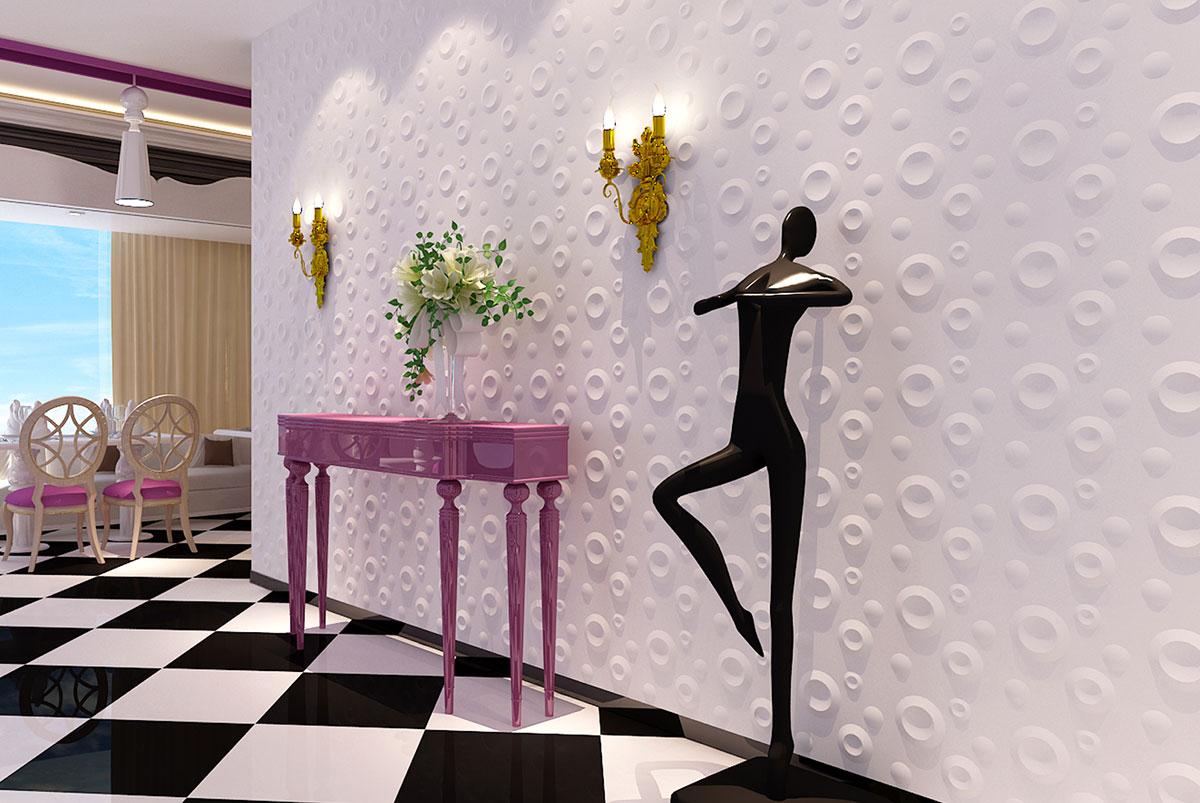 """3D панель из гипса """"Шашки""""  для интерьерного оформления стен."""