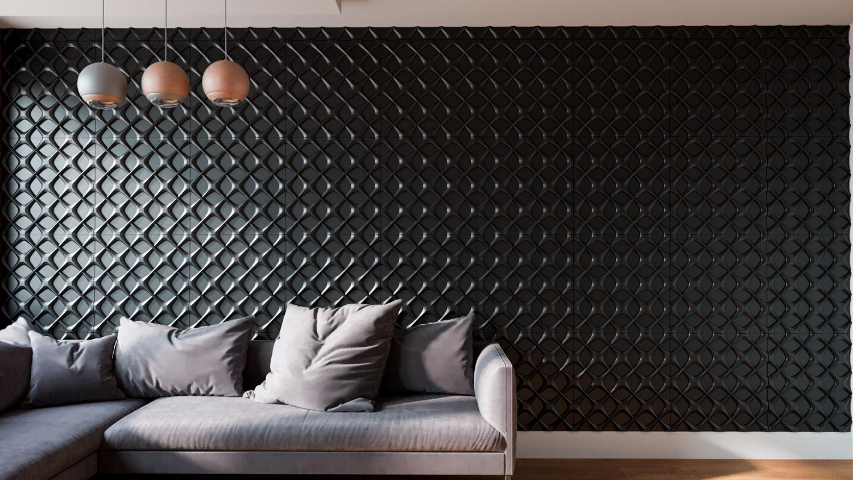"""Изображение 3D гипсовой панели """"Section"""" в интерьере квартиры:"""