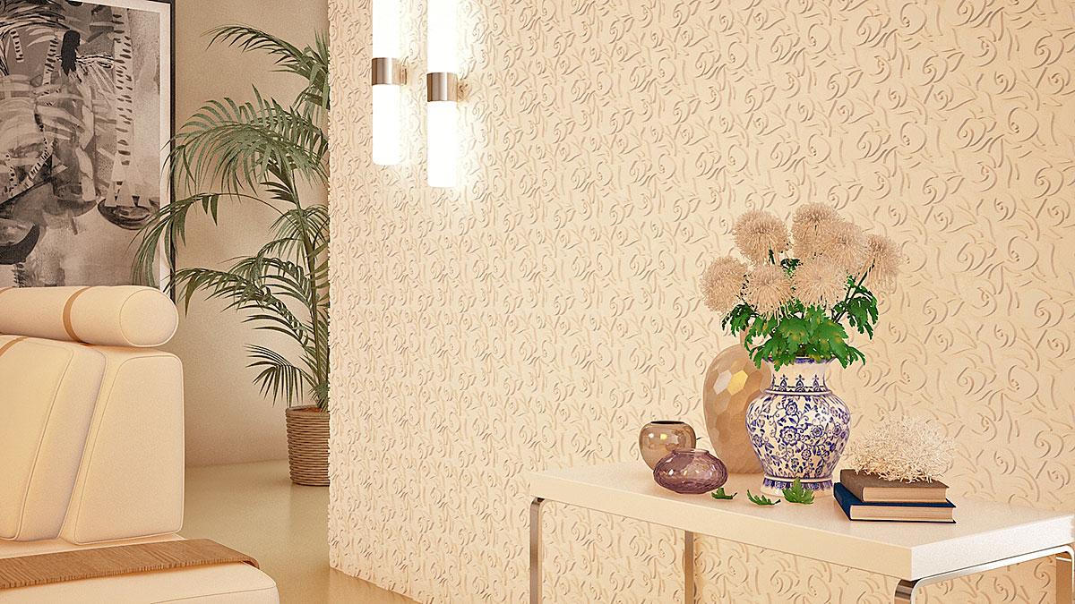 """3D панель из гипса """"Лили"""" для интерьерного оформления стен."""
