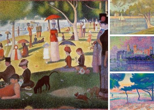 Пуантилизм (фр.Pointillisme, буквально «точечность», фр.point — точка), или дивизионизм — стилистическое направление в живописи неоимпрессионизма, возникшее во Франции около 1885 года.   Родоначальником пуантилизма является французский художник Жорж Сера. Он разработал оригинальную живописную технику письма мелкими точечными мазками чистого цвета, при этом, глядя на картину на определённом расстоянии, цвета смешиваются в глазу зрителя и человек видит другой цвет. Например, все мы знаем, что если смешать на палитре жёлтый и синий, то у нас получится зелёный цвет. Художники-пуантилисты ставили на холсте рядом жёлтые и синие точки, и отойдя на определённое расстояние зритель видел зелёный цвет. Это возможно благодаря оптике и строению нашего зрительного аппарата.