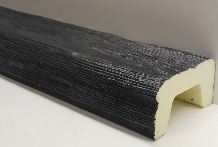 Пенополиуретановые фальш балки под рубленое дерево черного цвета