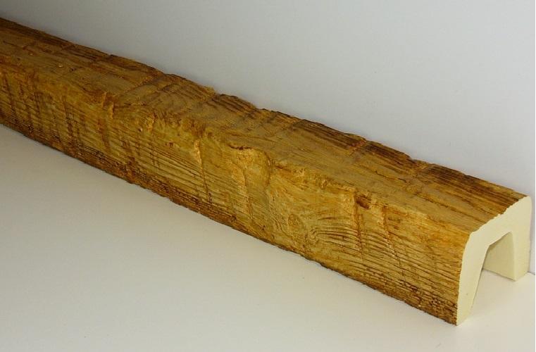 Балка декоративная из пенополиуретана под рубленое дерево, светлый дуб