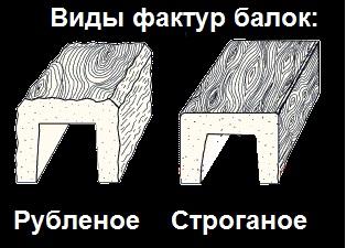 Фактура поверхности балок из полиуретана - рубленое дерево и строганное дерево