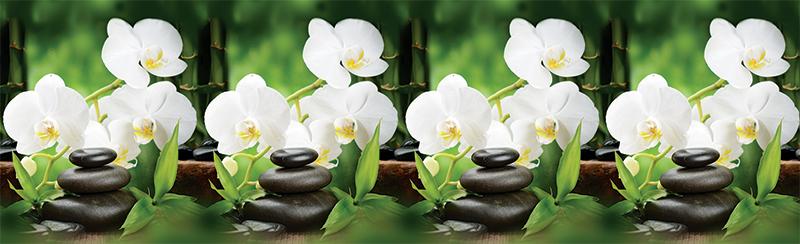Фартук для кухни - белые орхидеи