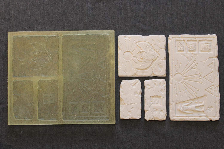 """Набор полиуретановых фор для изготовления коллекции декоративной плитки и панно """"ГОР"""" в египетском стиле."""