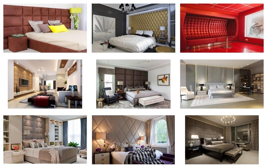 Примеры использования мягких панелей в интерьере детской комнаты, гостиной, ресторана, бара