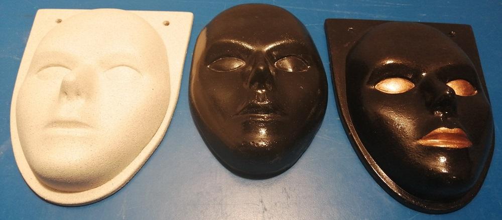 """Гипсовая скульптура для декора стен """"Маска лица"""". Скульптура цельная из высокопрочного гипса. Ручная роспись акриловыми красками. Покрыта глянцевым акриловыми лаком."""