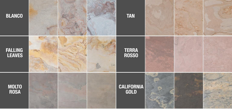 РАЗНООБРАЗИЕ ЦВЕТОВОЙ ГАММЫ НАТУРАЛЬНОГО ШПОНА ECOSTONE:  В настоящий момент производителем натурального экологического каменного шпона серии Eco Stone выпускаются следующие цветовые решения: