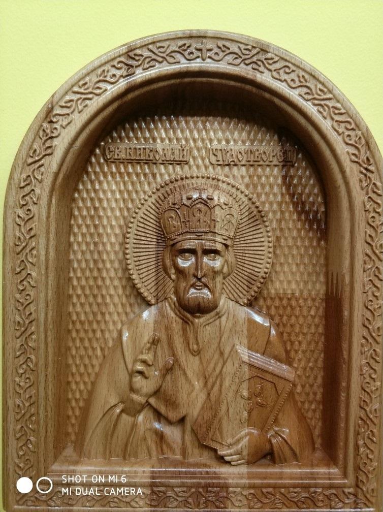 Икона Николай Чудотворец, 220х180 мм., материал - бук.
